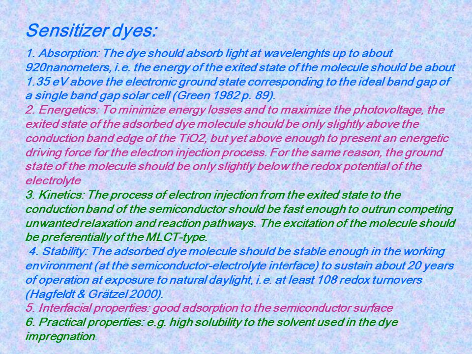 Sensitizer dyes: