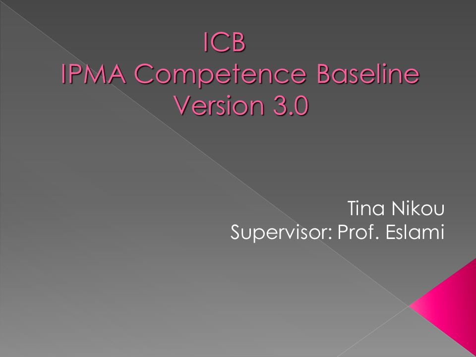 ICB IPMA Competence Baseline Version 3.0