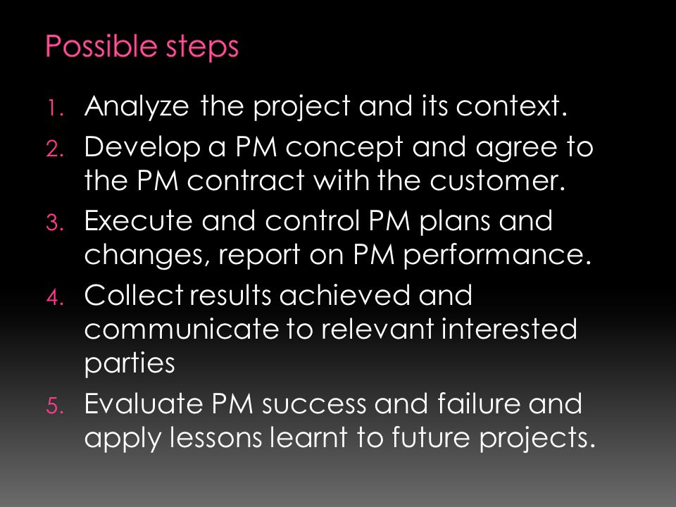 Possible steps Analyze the project and its context.