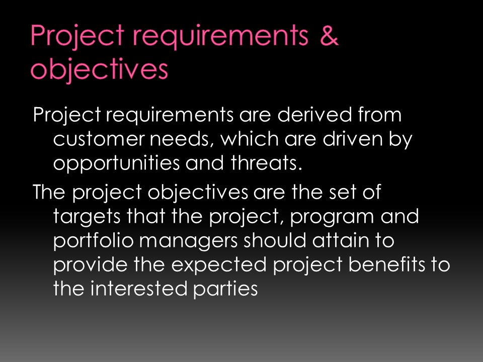 Project requirements & objectives