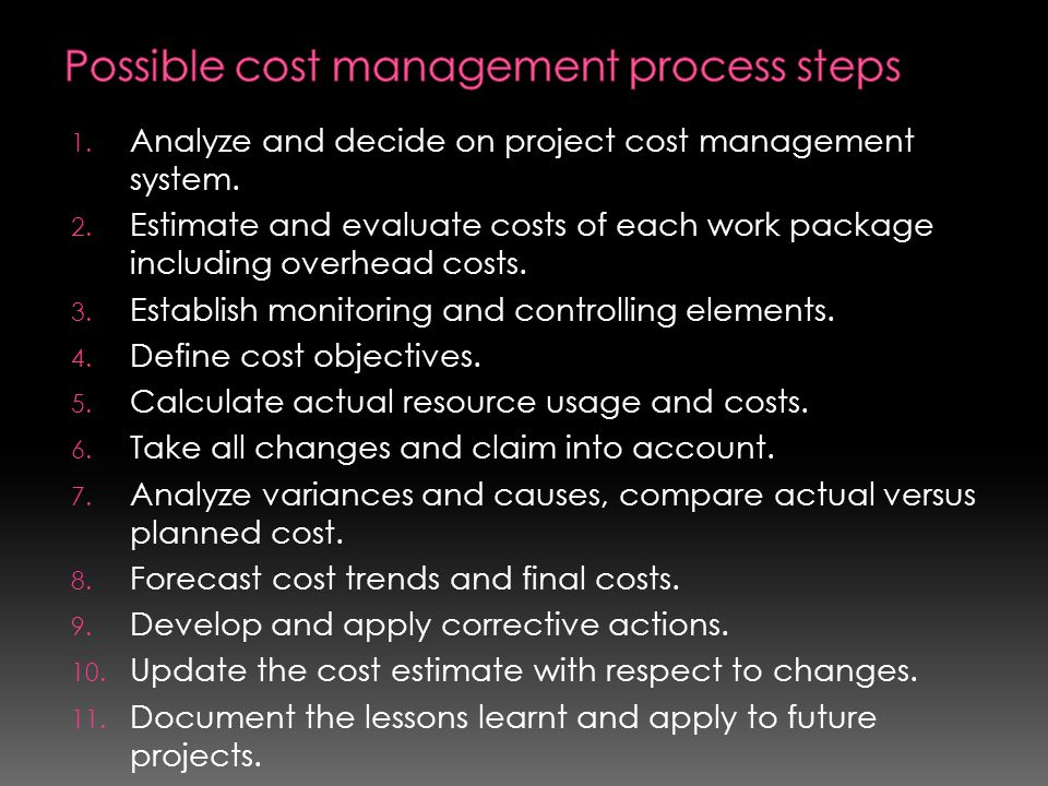 Possible cost management process steps