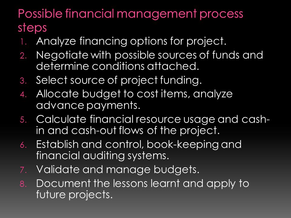 Possible financial management process steps