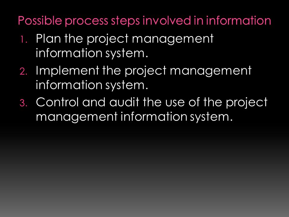 Possible process steps involved in information