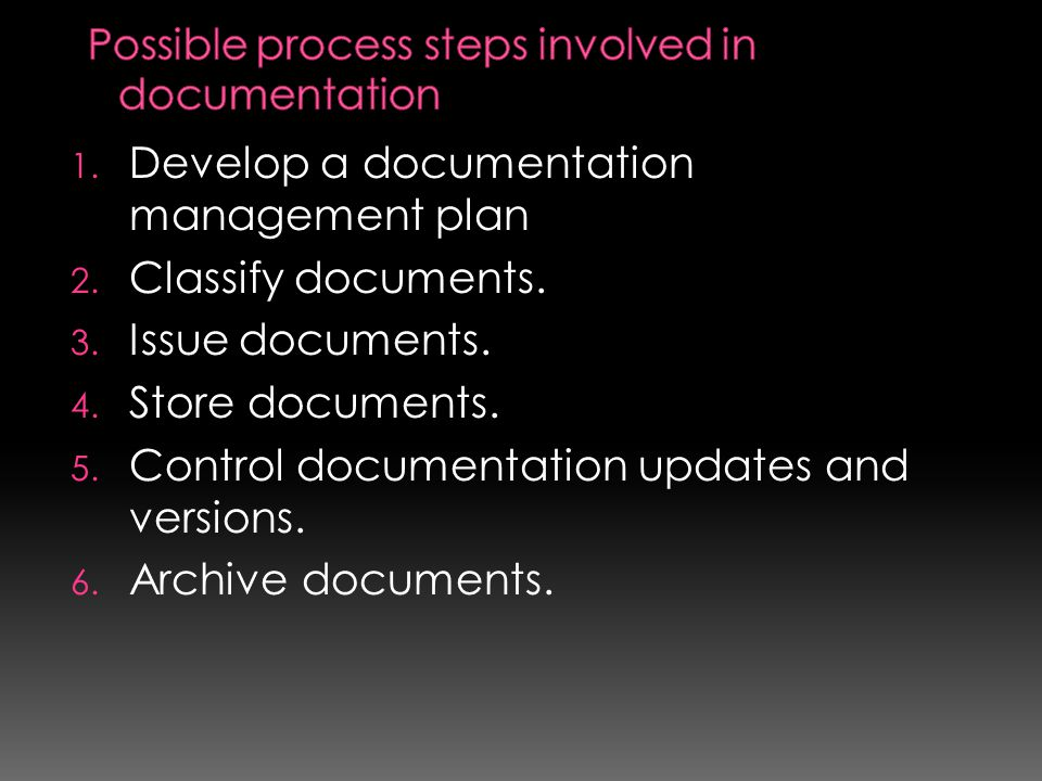 Possible process steps involved in documentation