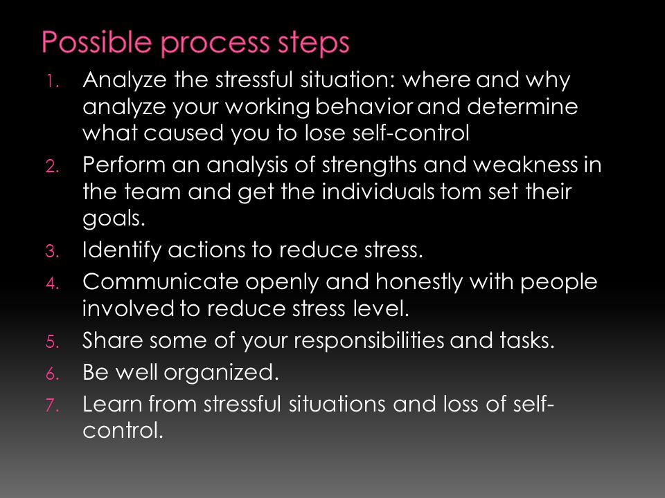 Possible process steps
