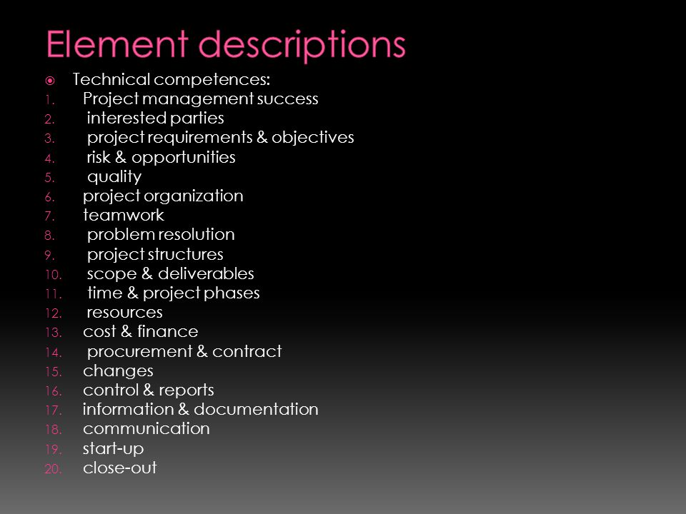 Element descriptions Technical competences: Project management success