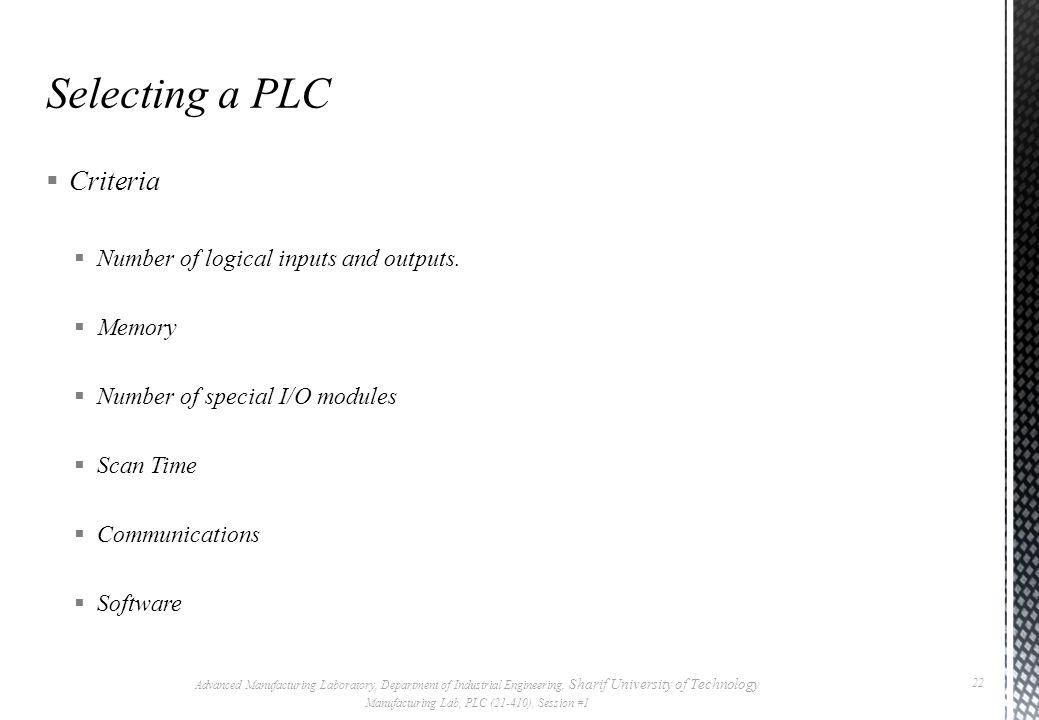 Manufacturing Lab, PLC (21-410), Session #1