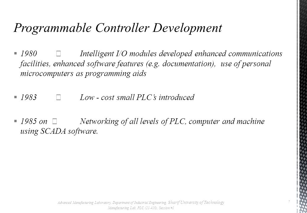 Programmable Controller Development