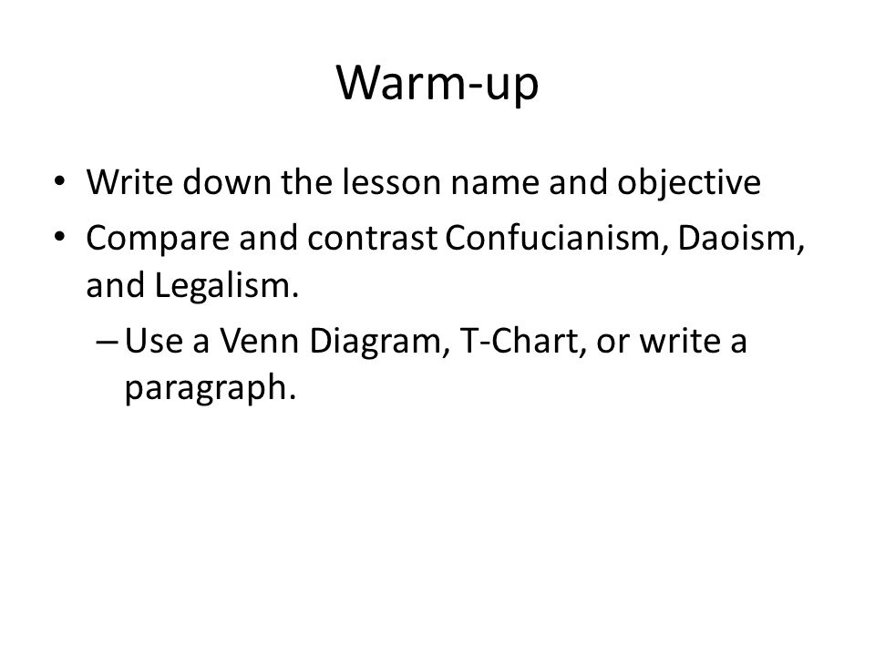 Warm-up Write down the lesson name and objective
