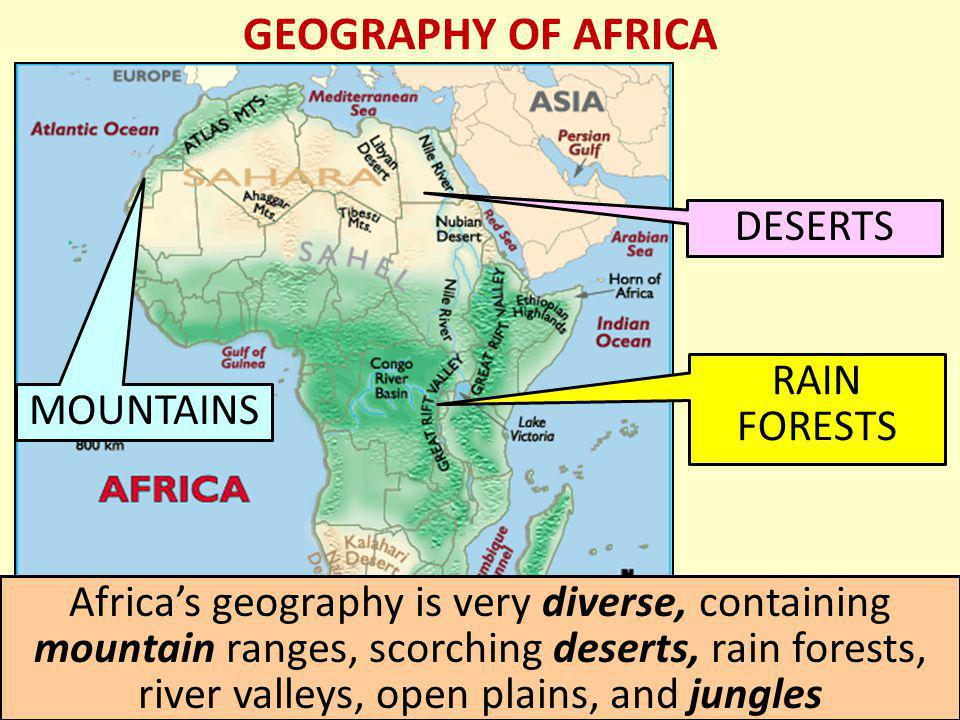 GEOGRAPHY OF AFRICA DESERTS RAIN FORESTS MOUNTAINS