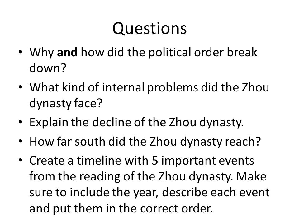 Questions Why and how did the political order break down