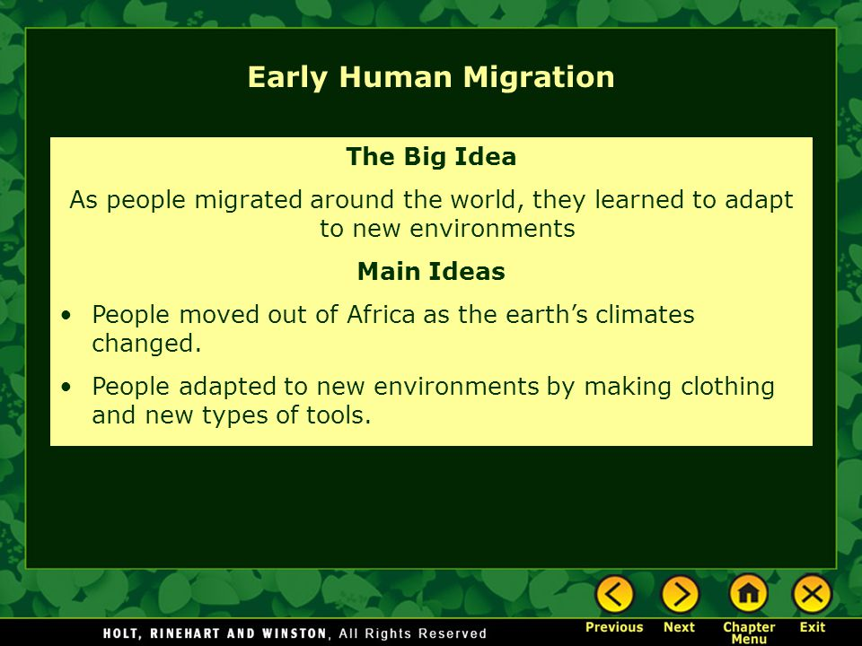Early Human Migration The Big Idea