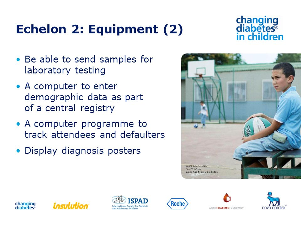 Echelon 2: Equipment (2) Be able to send samples for laboratory testing. A computer to enter demographic data as part of a central registry.