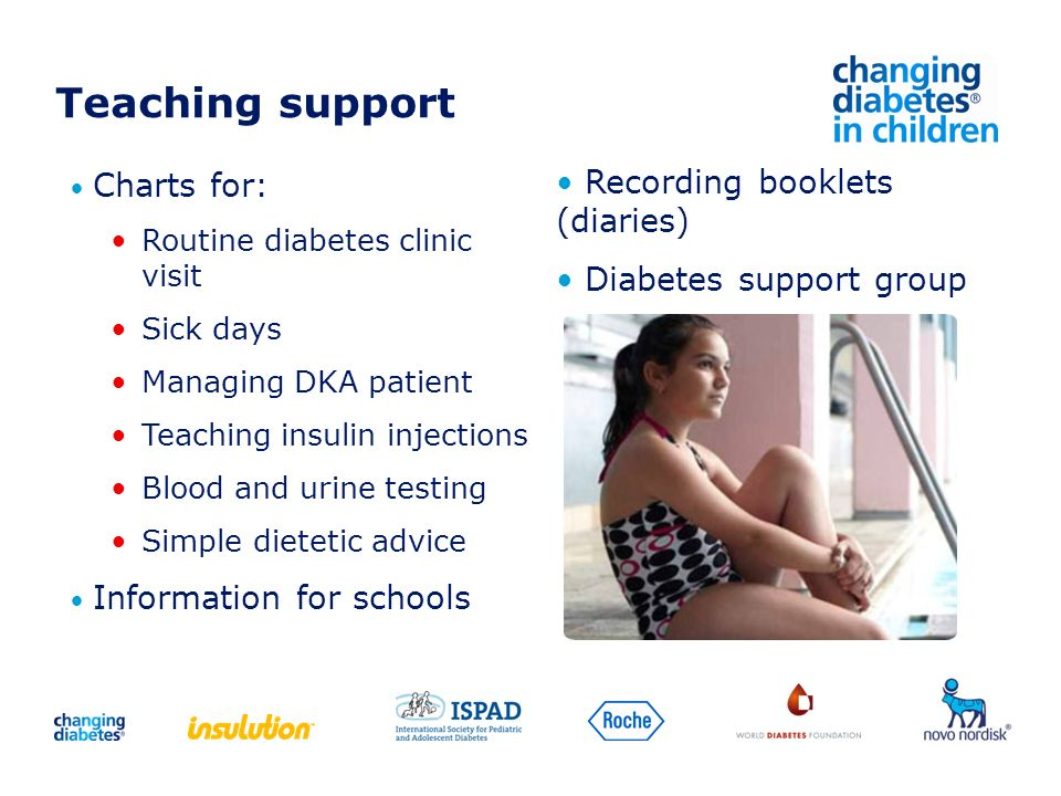 Teaching support Recording booklets (diaries) Diabetes support group