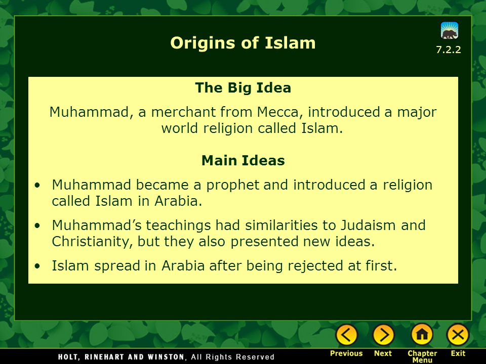 Origins of Islam The Big Idea