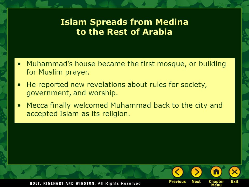 Islam Spreads from Medina to the Rest of Arabia