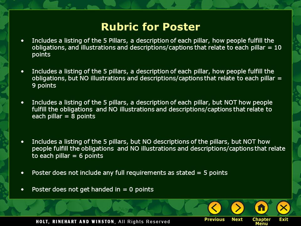 Rubric for Poster