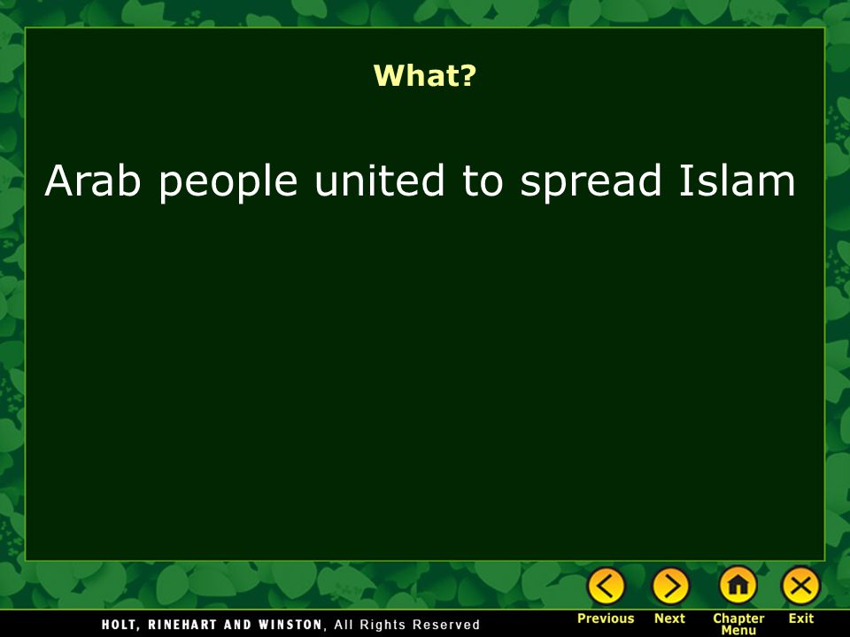 Arab people united to spread Islam