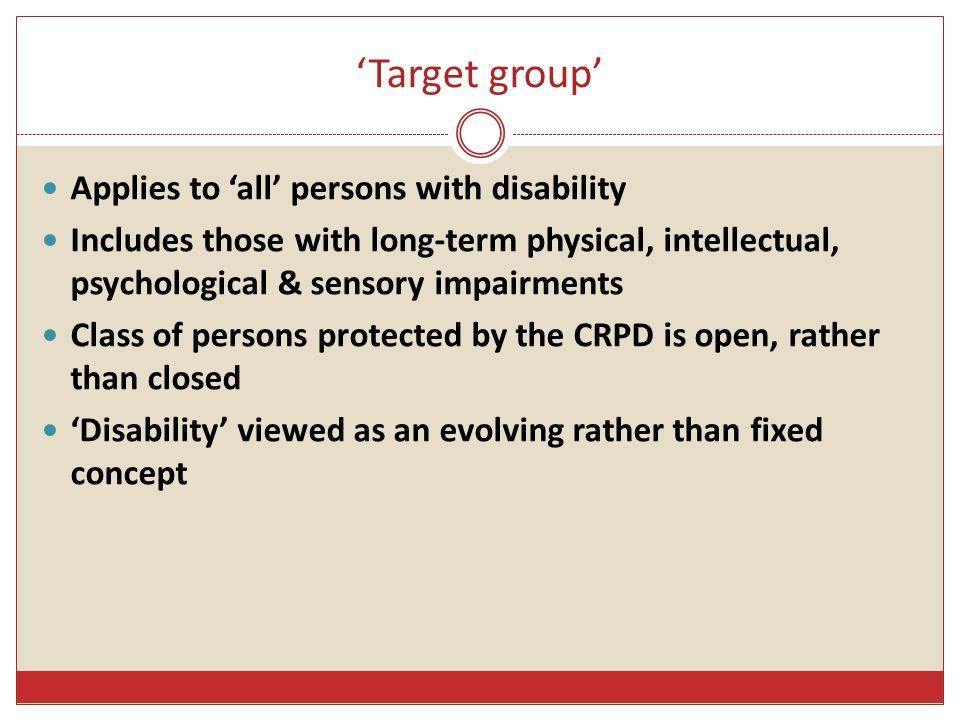 'Target group' Applies to 'all' persons with disability