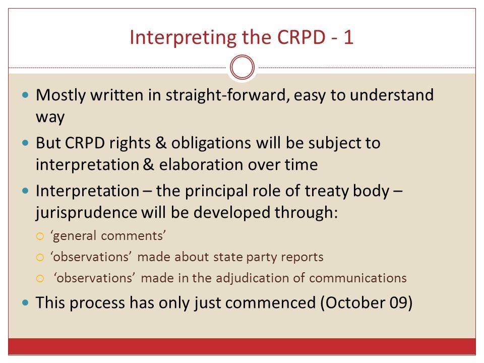 Interpreting the CRPD - 1