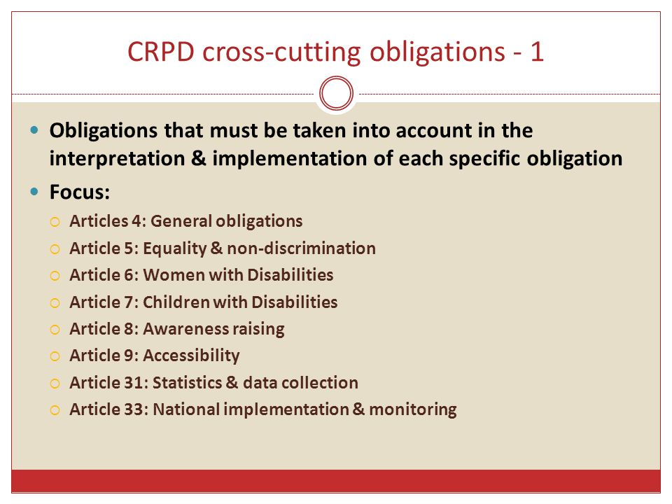 CRPD cross-cutting obligations - 1