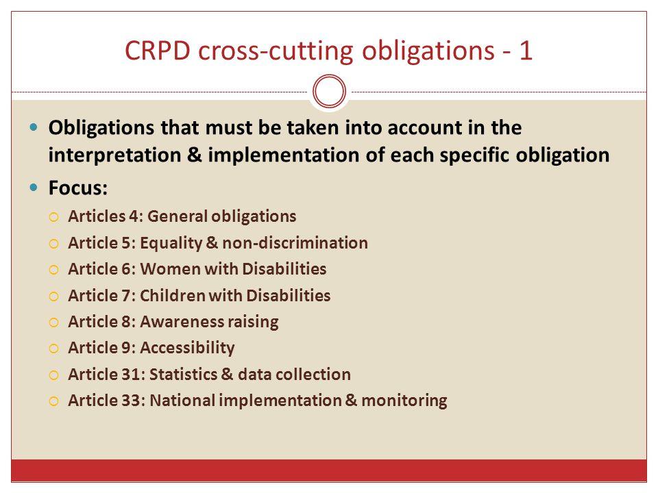 CRPD cross-cutting obligations - 1