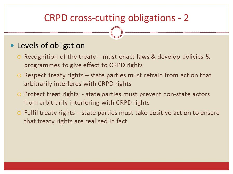 CRPD cross-cutting obligations - 2