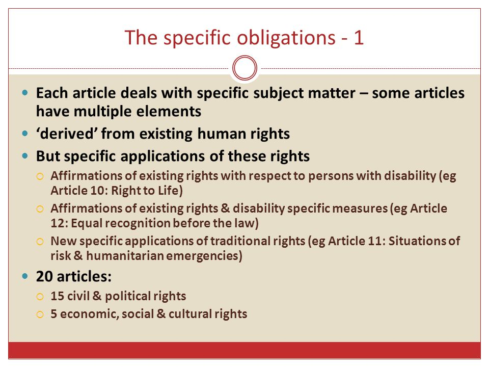 The specific obligations - 1