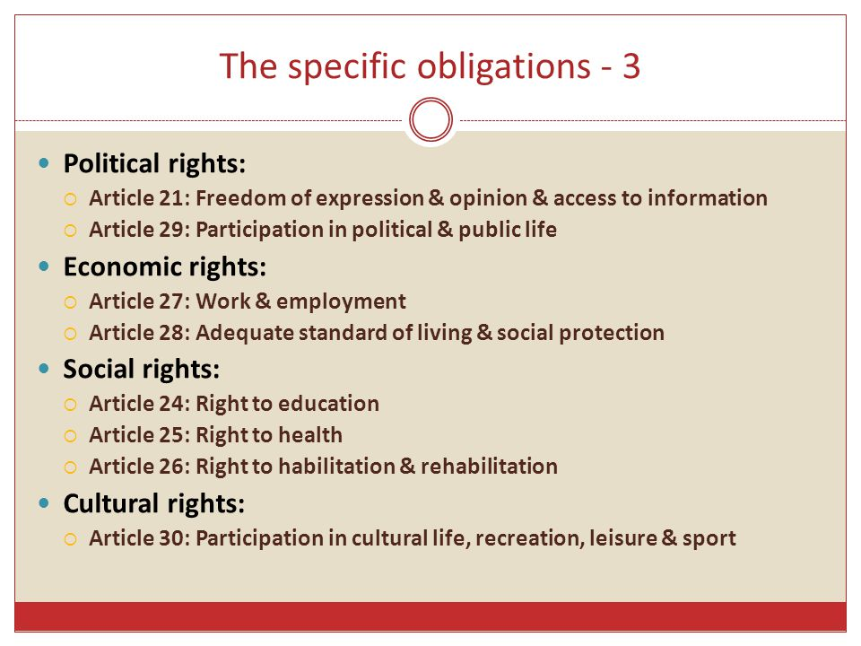 The specific obligations - 3