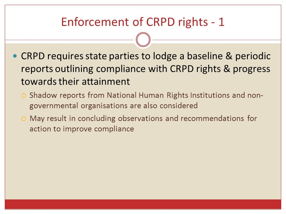 Enforcement of CRPD rights - 1