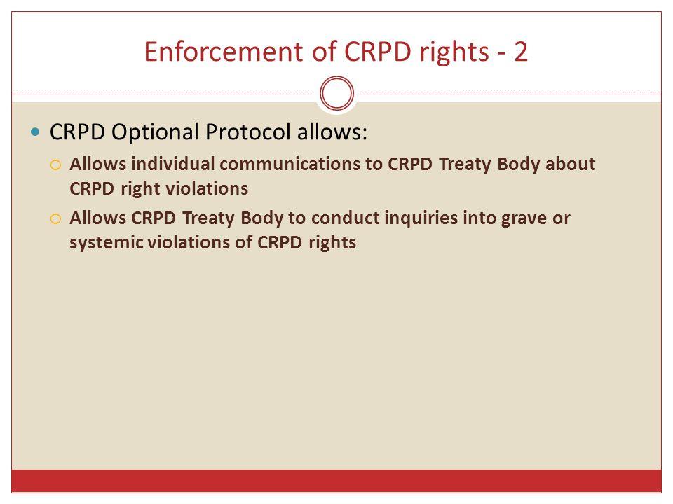 Enforcement of CRPD rights - 2