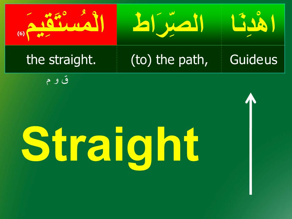 Straight اهْدِنَا الصِّرَاطَ الْمُسْتَقِيمَ(6) Guide us (to) the path,