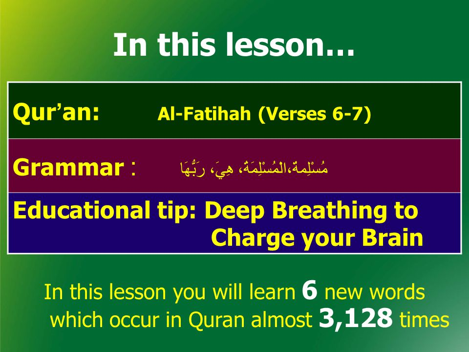 In this lesson… Qur'an: Al-Fatihah (Verses 6-7)