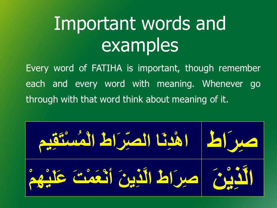 Important words and examples