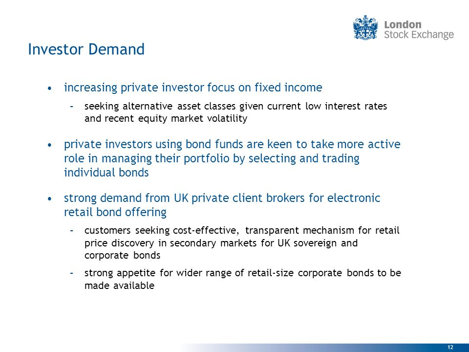 Investor Demand increasing private investor focus on fixed income