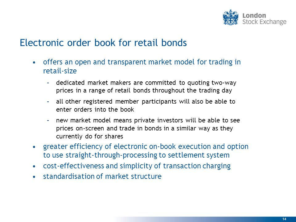 Electronic order book for retail bonds