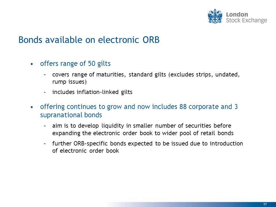 Bonds available on electronic ORB