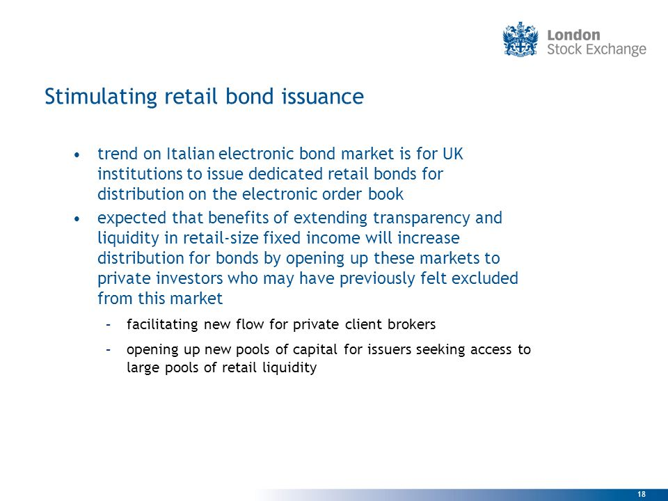 Stimulating retail bond issuance