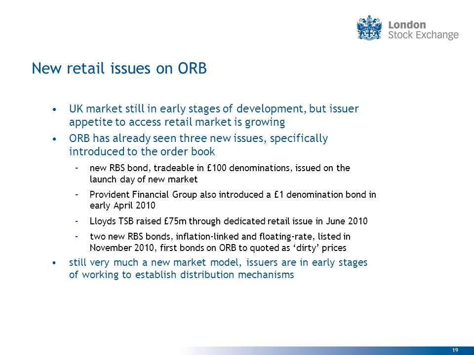 New retail issues on ORB