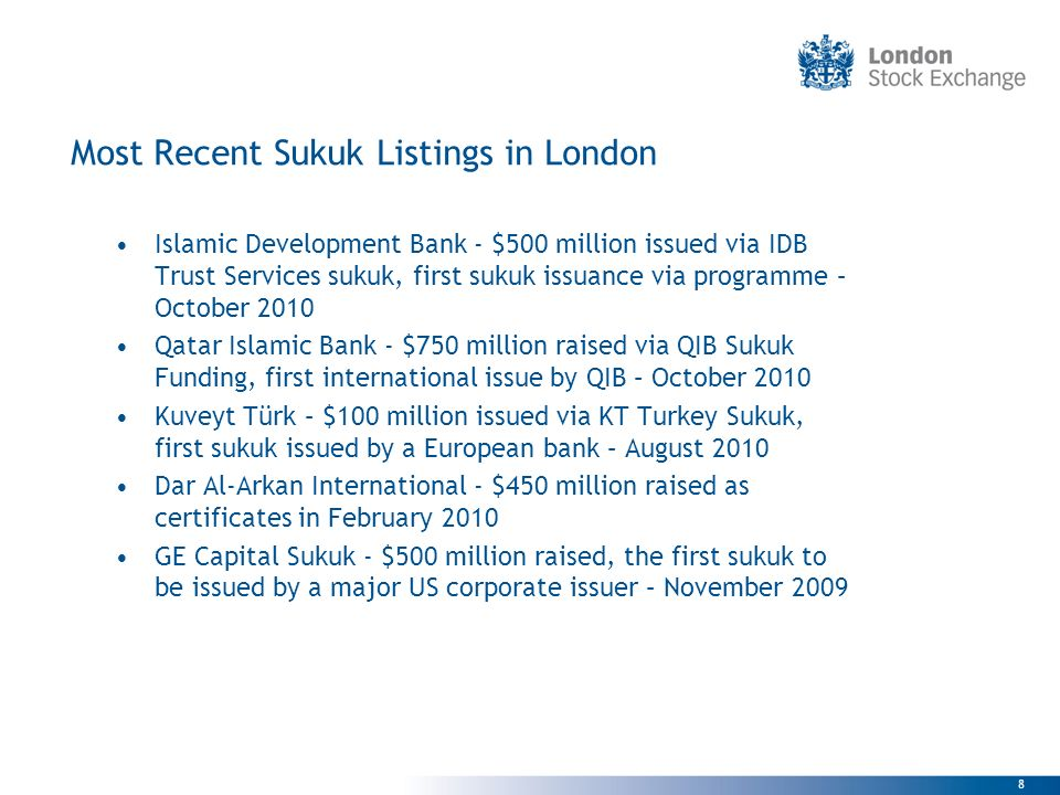 Most Recent Sukuk Listings in London