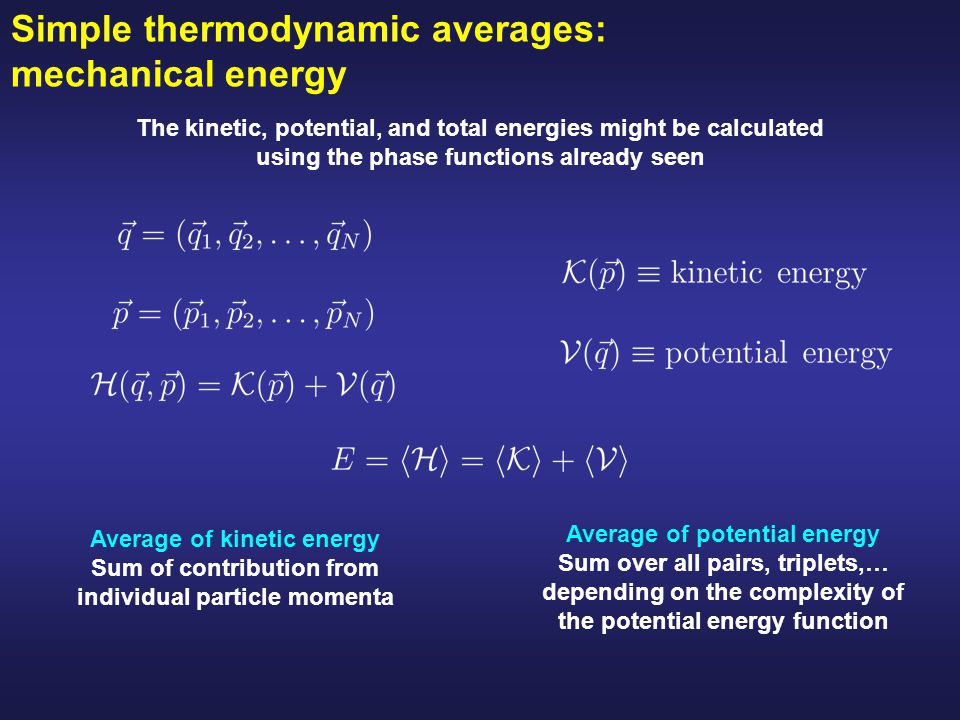 Simple thermodynamic averages: mechanical energy