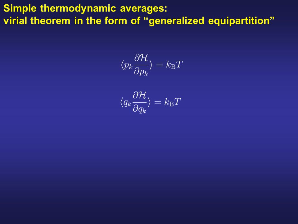 Simple thermodynamic averages: virial theorem in the form of generalized equipartition