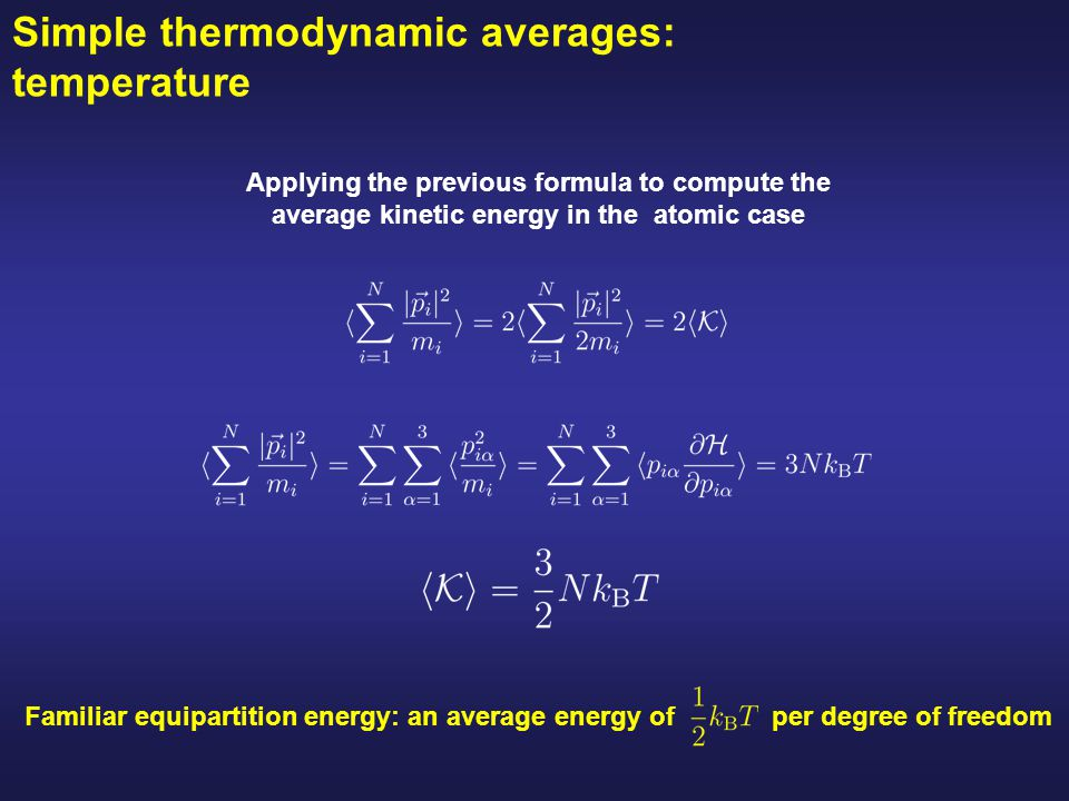 Simple thermodynamic averages: temperature