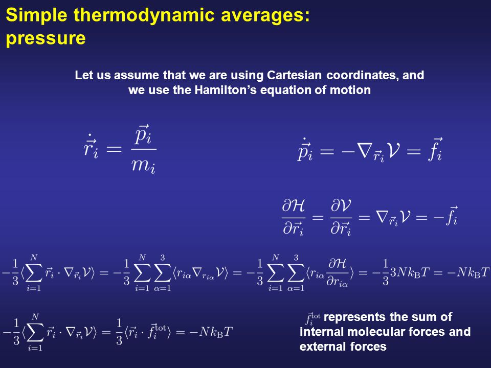 Simple thermodynamic averages: pressure