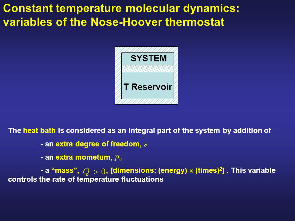 Constant temperature molecular dynamics: variables of the Nose-Hoover thermostat