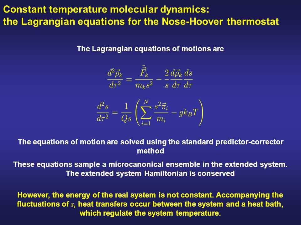 The Lagrangian equations of motions are
