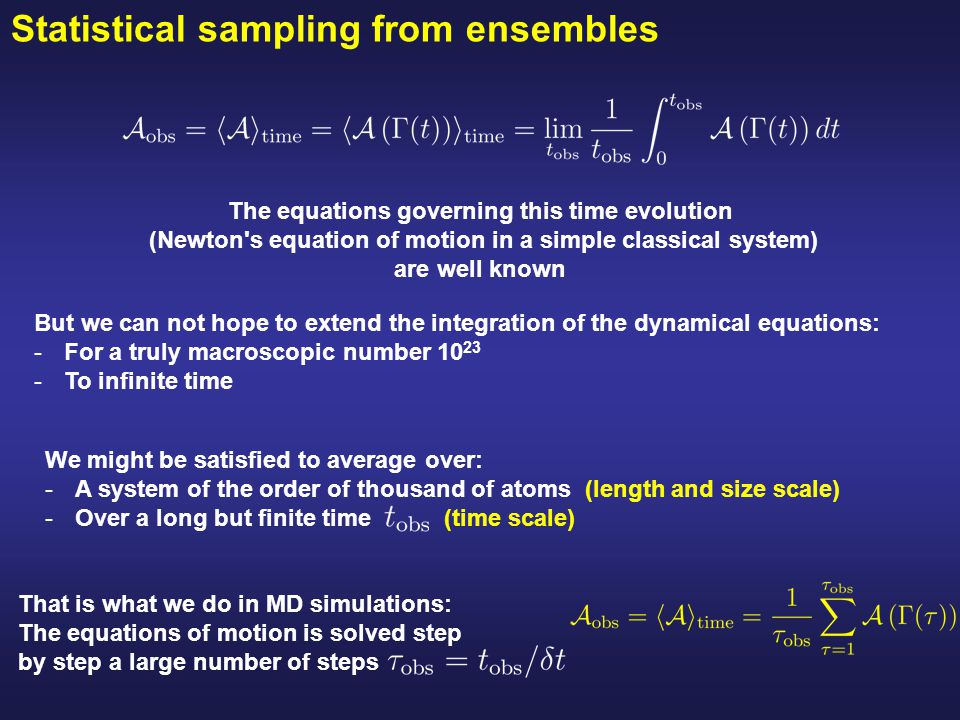 Statistical sampling from ensembles