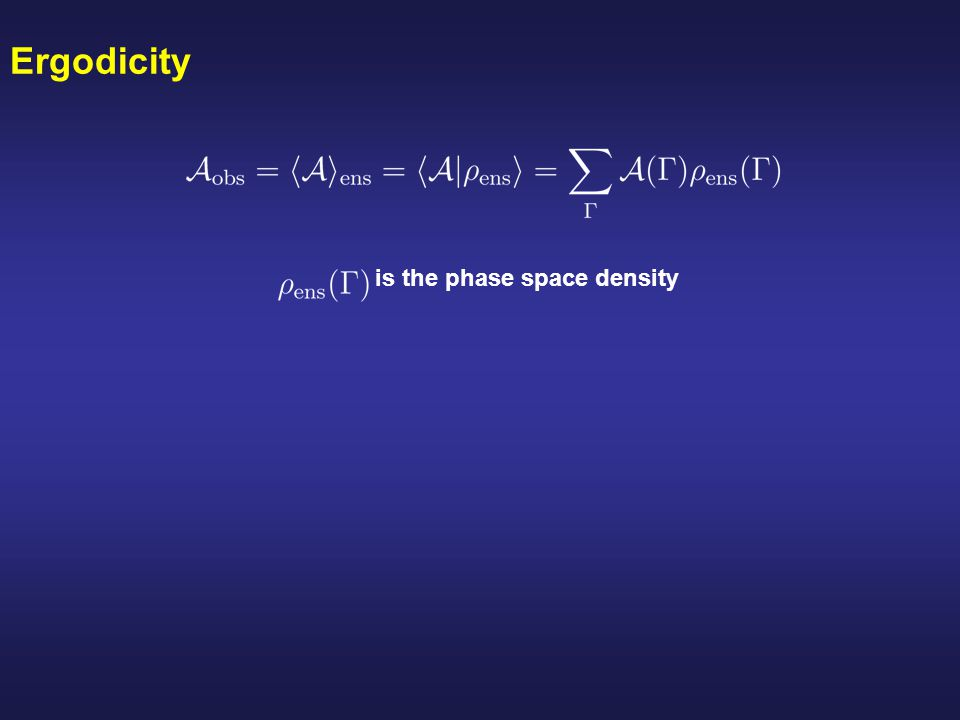 Ergodicity is the phase space density