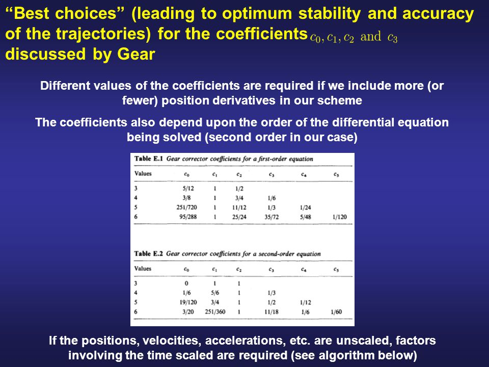 Best choices (leading to optimum stability and accuracy of the trajectories) for the coefficients discussed by Gear