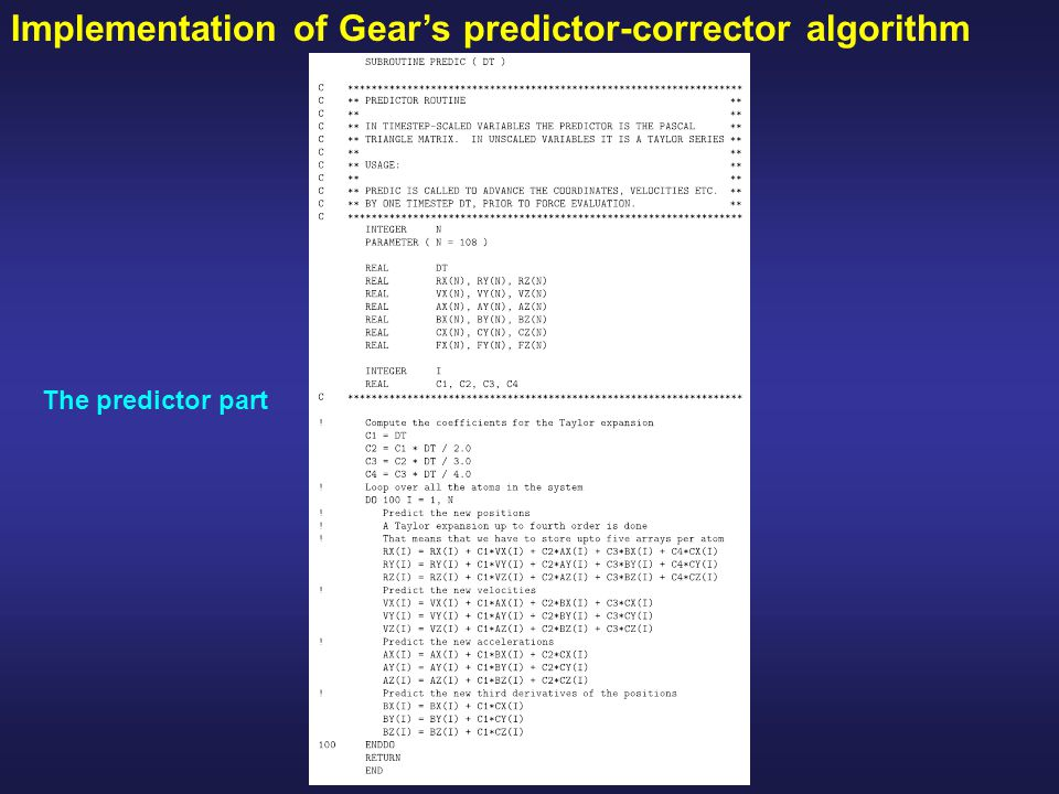 Implementation of Gear's predictor-corrector algorithm